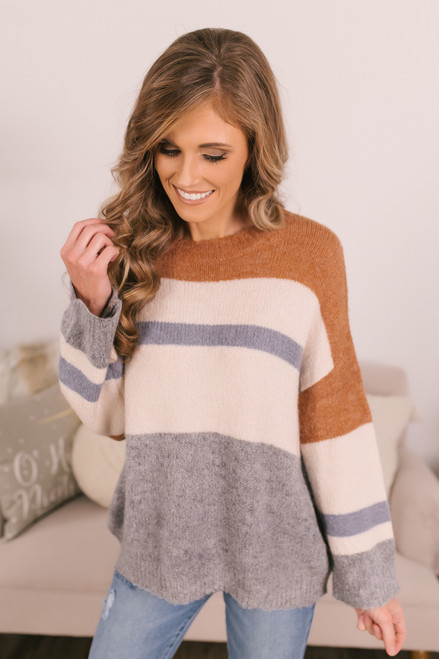 Crew Neck Colorblock Sweater - Copper/Ivory/Blue/Grey