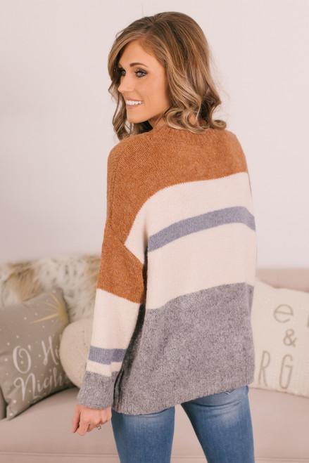Crew Neck Colorblock Sweater - Copper/Ivory/Blue/Grey