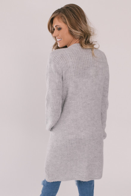 Open Front Waffle Pocket Cardigan - Heather Grey