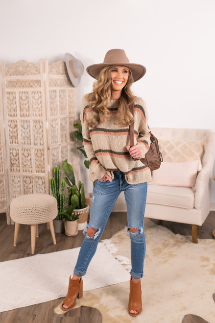 Open Knit Taupe Multi Striped Sweater