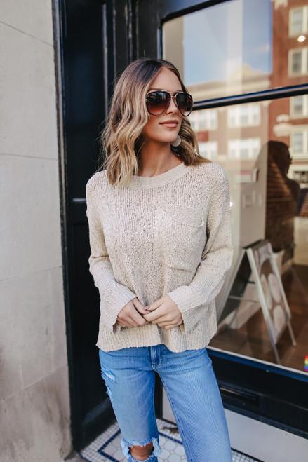 Open Knit Oatmeal Pocket Sweater