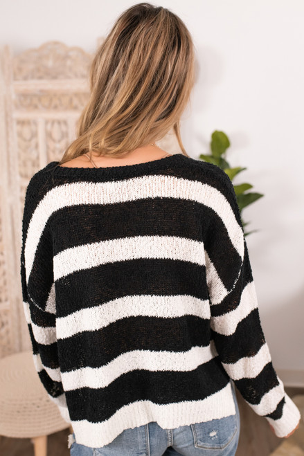 Drawstring Open Knit Striped Hoodie