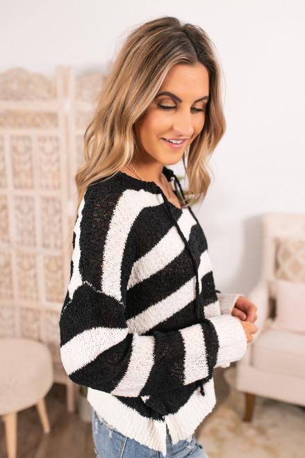 Drawstring Open Knit Striped Hoodie