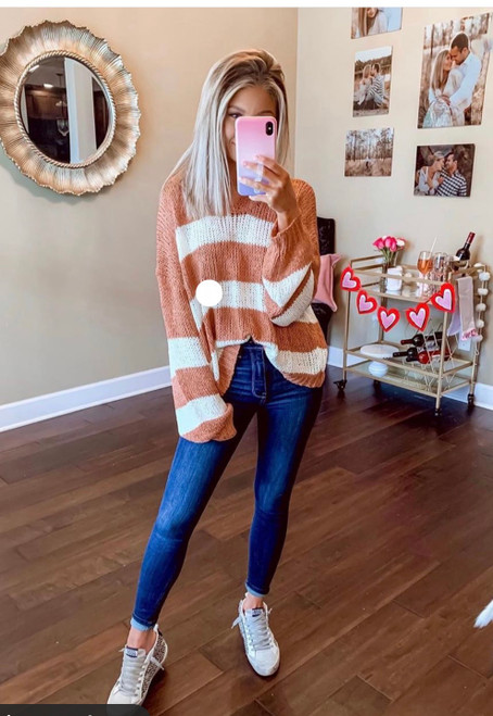 Open Knit Coral Striped Hoodie
