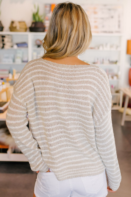 V-Neck Taupe Striped Open Knit Sweater