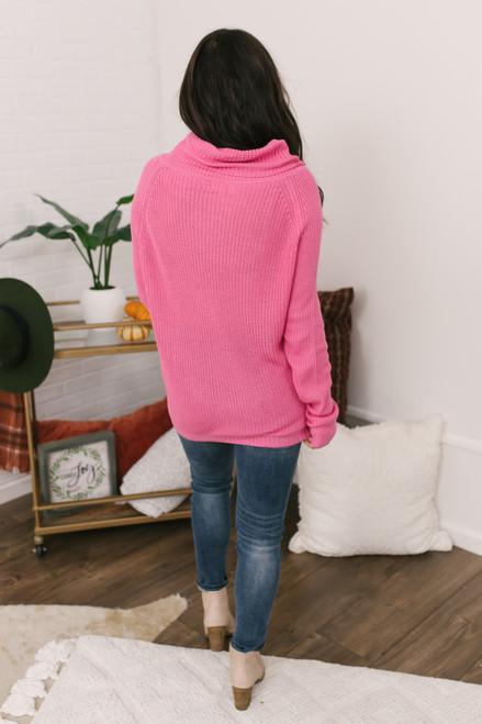 Elle Cowl Neck Sweater - Hot Pink