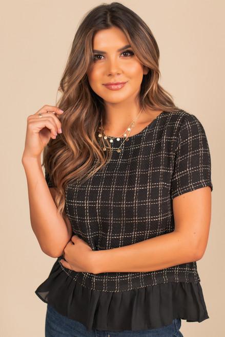 Checkered Tweed Peplum Top - Black/Cream
