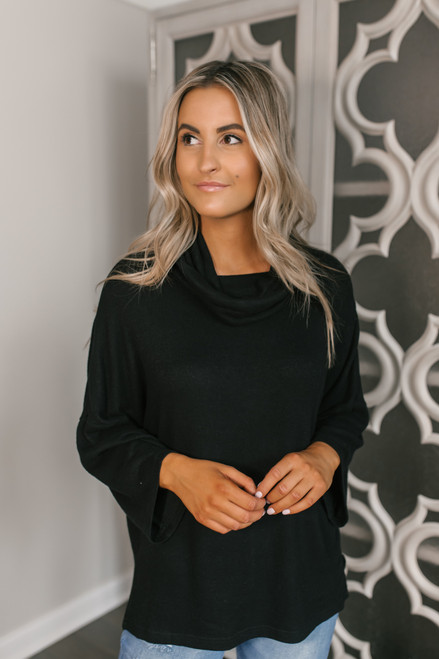 3/4 Sleeve Brushed Cowl Pullover - Black