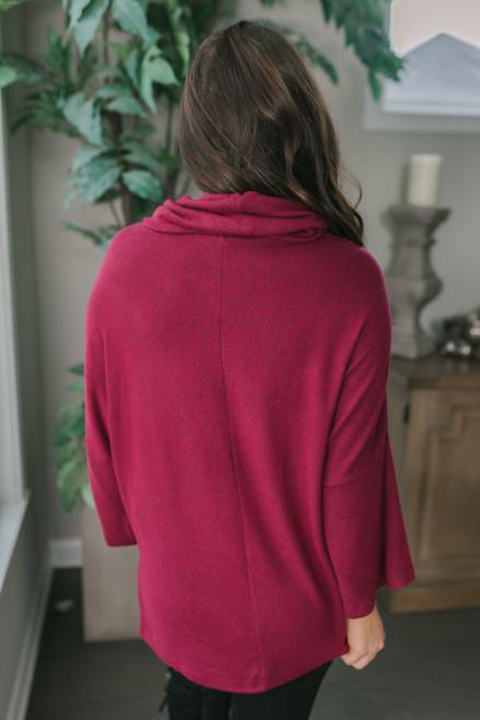 3/4 Sleeve Brushed Cowl Pullover - Burgundy