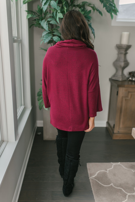 3/4 Sleeve Brushed Cowl Pullover - Burgundy