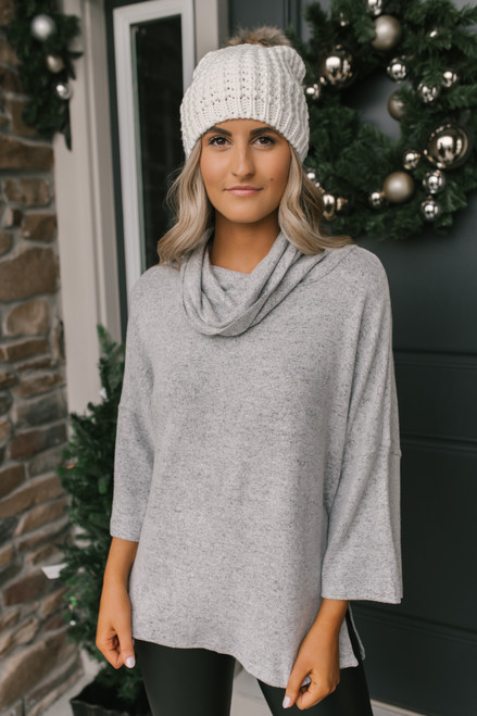 3/4 Sleeve Brushed Cowl Pullover - Grey