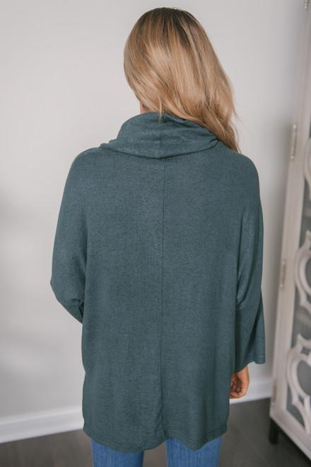 3/4 Sleeve Brushed Cowl Pullover - Dark Teal