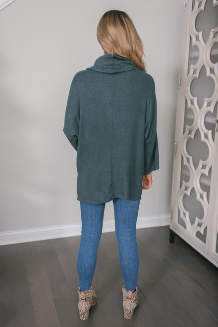 3/4 Sleeve Brushed Cowl Pullover - Dark Teal
