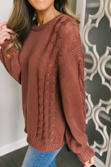 Catalina Cable Detail Sweater - Clay