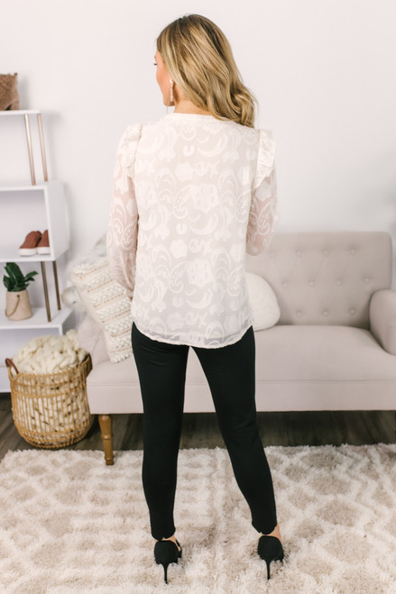 Button Down Textured Floral Blouse - Cream