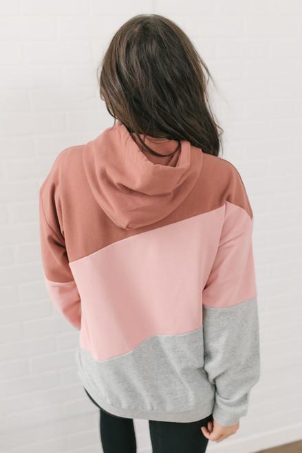 Asymmetrical Colorblock Hoodie - Brick/Mauve/Grey