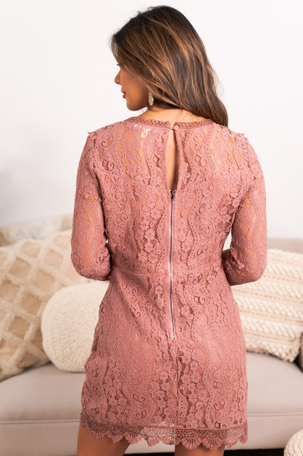 The Perfect Date Lace Dress - Rose