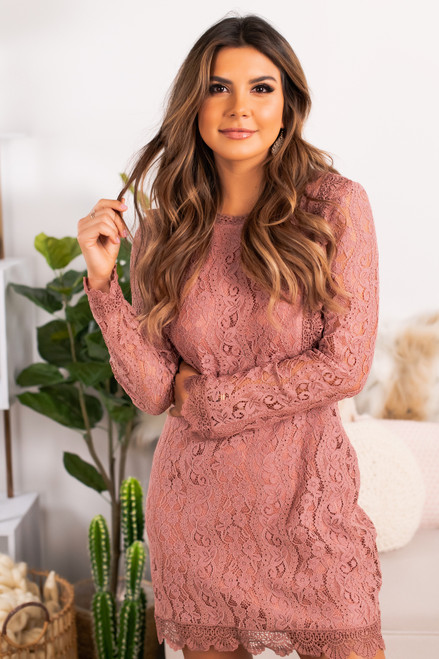 The Perfect Date Lace Dress - Rose The Perfect Date Lace Dress - Rose