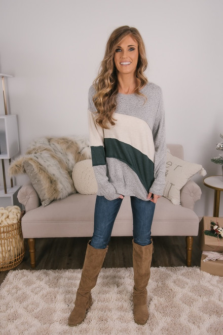 Soft Brushed Colorblock Top - Grey/Oatmeal/Green