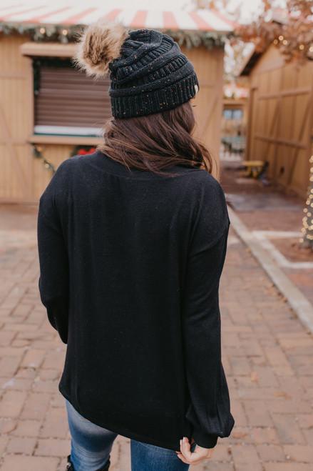 V-Neck Brushed Twisted Hem Pullover - Black