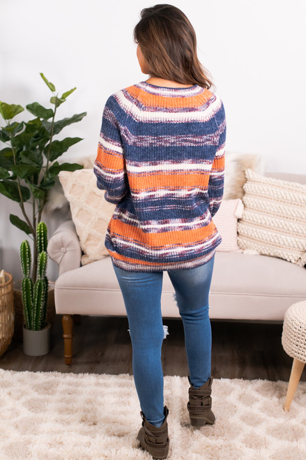 Fiesta Striped Raglan Sweater - Orange Multi