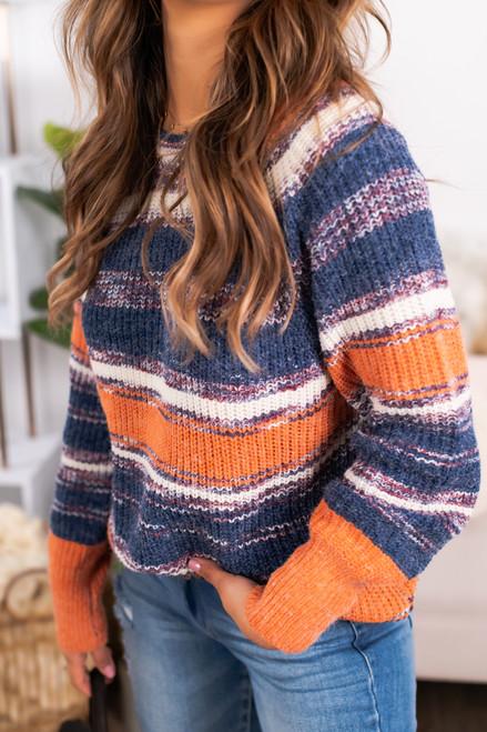Fiesta Striped Raglan Sweater - Orange Multi
