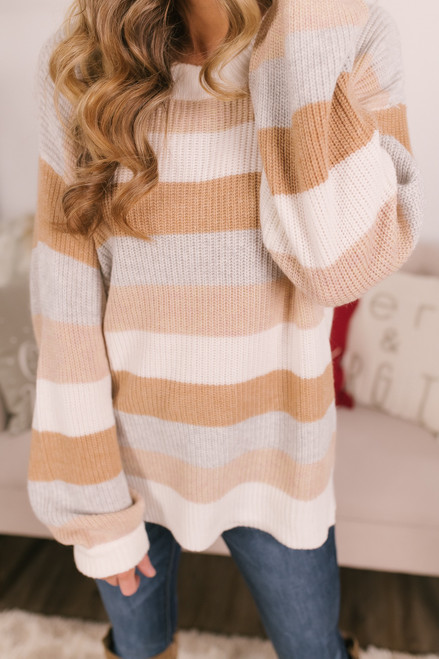Snowed In Striped Sweater - Beige Multi
