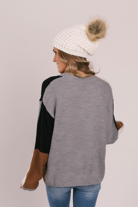 Colorblock Square Sweater - Grey/Black/Ivory/Copper