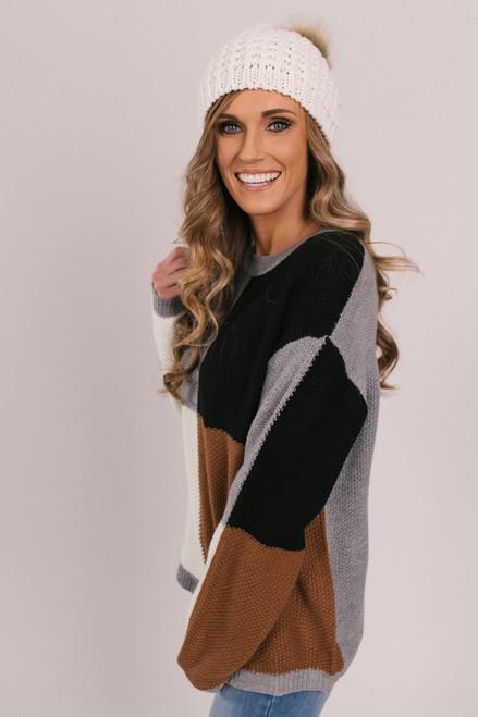 Colorblock Square Sweater - Grey/Black/Ivory/Copper