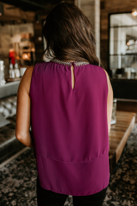 Beaded Mock Neck Layered Top - Magenta Win