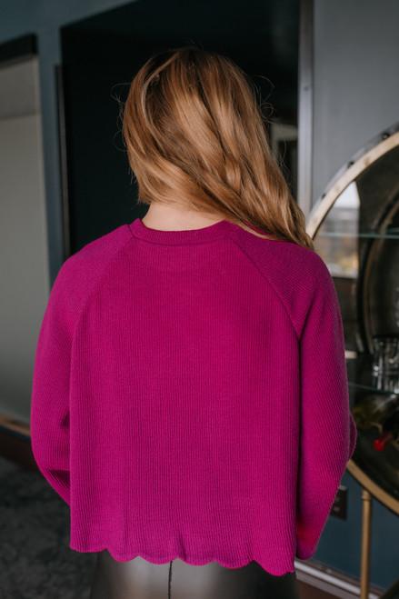 Flare Sleeve Scalloped Sweater - Magenta Flare Sleeve Scalloped Sweater - Magenta