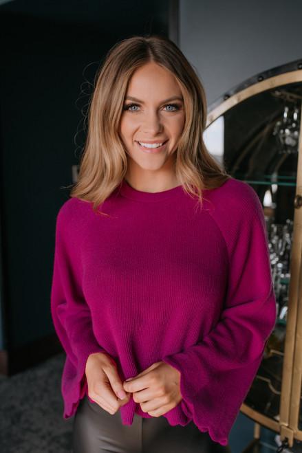 Flare Sleeve Scalloped Sweater - Magenta