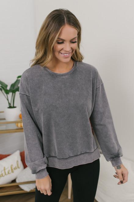 Vintage Wash Side Slit Pullover - Charcoal