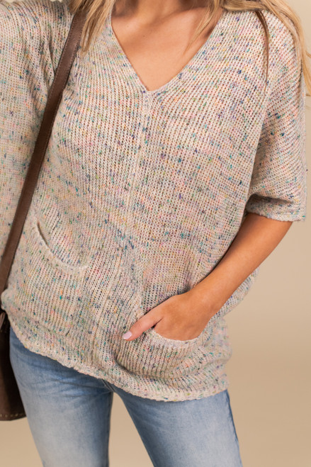 Short Sleeve Confetti Pocket Sweater