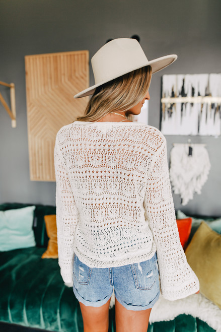 Ruched Front Cream Crochet Sweater