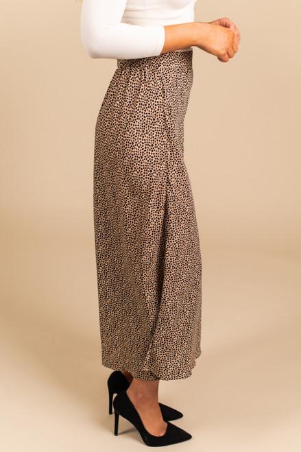 Leopard Taupe Multi Midi Skirt