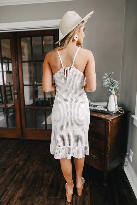 V-Neck Pointelle Natural Sweater Dress