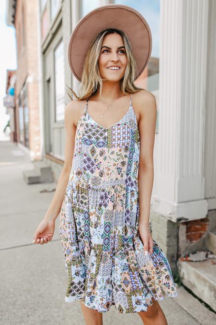 Bourbon Street Mixed Print Tiered Dress