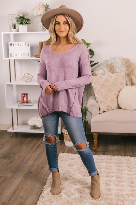V-Neck Lavender Seam Detail Sweater