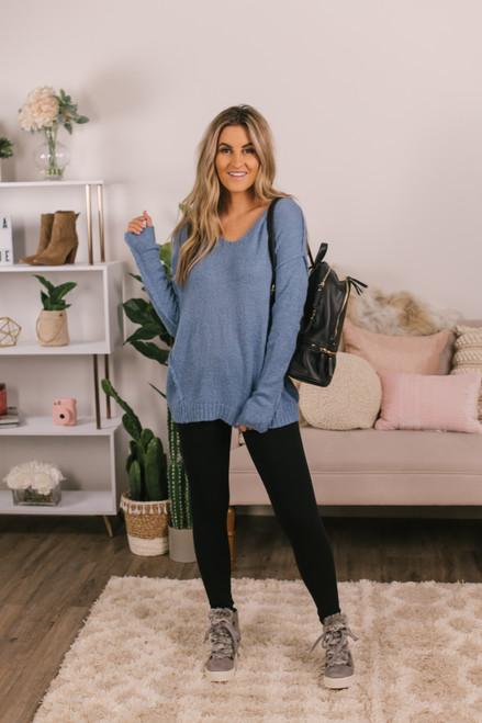V-Neck Blue Seam Detail Sweater