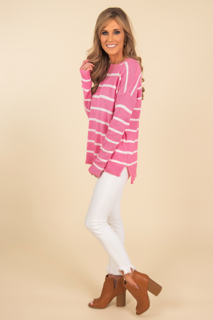 Shoreline Pink Striped Waffle Sweater