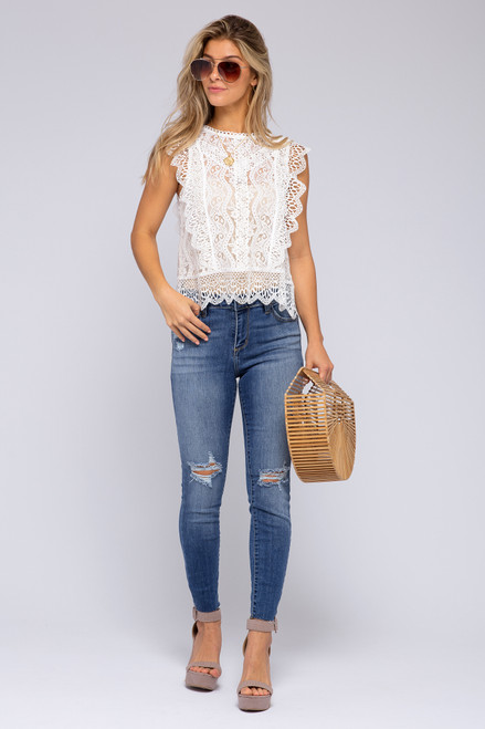 High Neck Ivory Scalloped Lace Blouse