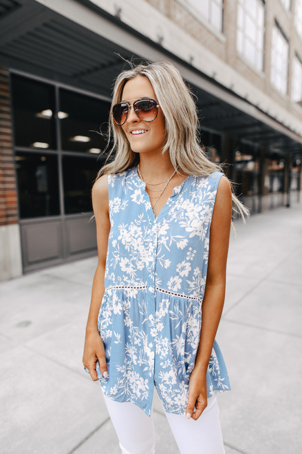 Button Down Blue Floral Babydoll Top