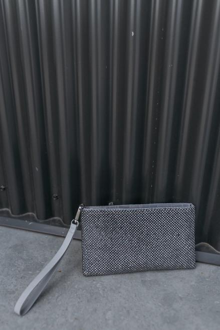 Rhinestone Metallic Wristlet - Grey