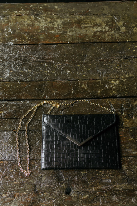 Faux Leather Envelope Crossbody Clutch - Black