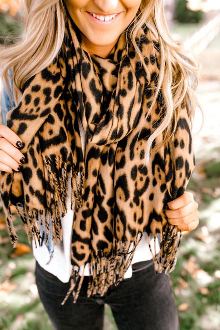 Leopard Oblong Scarf - Mocha