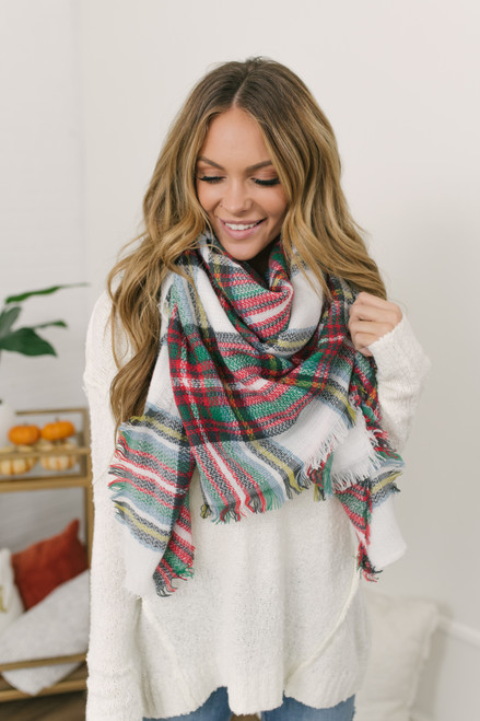 Plaid Blanket Scarf - White/Red/Green