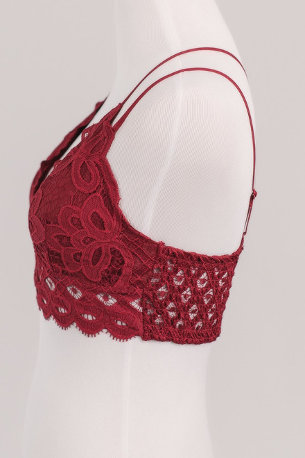 Goddess Scalloped Lace Bralette - Red