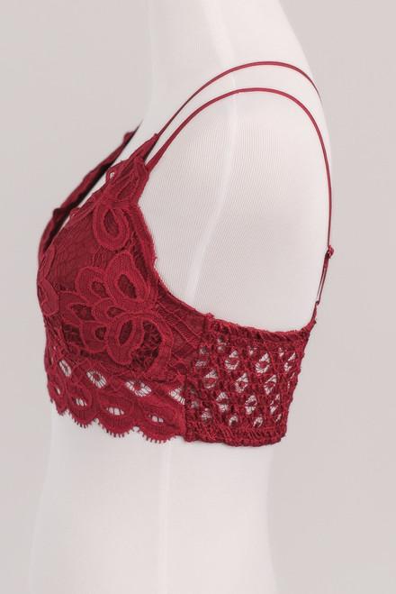 Goddess Scalloped Lace Bralette - Red