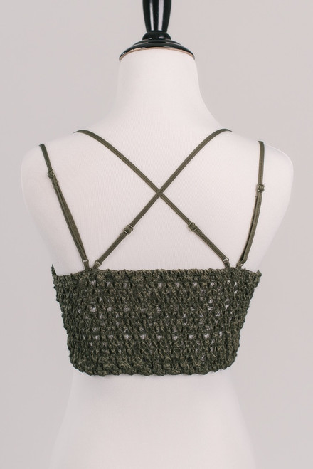 Goddess Scalloped Lace Bralette - Olive